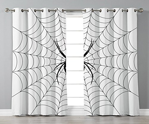 Thermal Insulated Blackout Grommet Window Curtains,Spider Web,Poisonous Bug