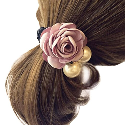 Make Satin Ribbon Roses - Women Satin Ribbon Rose Flower Pearls Hairband Ponytail Holder Hair Band (Pink)