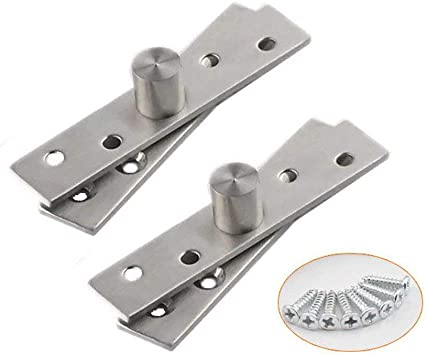 T/&B 2 Pcs 360 Degree Door Pivot Hinge Stainless Steel Brushed Finish Hardware Side Pivot 95mm