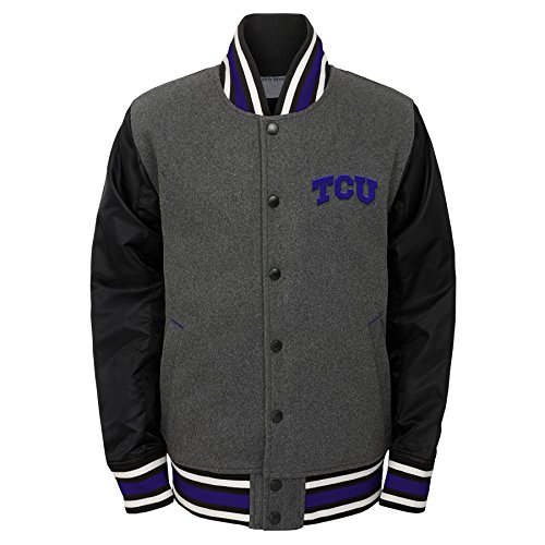 Outerstuff NCAA TCU Horned Frogs Youth Boys Letterman Varsity Jacket, Small (8), Charcoal -