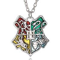 Harry Potter Hogwarts School Badge Pendant Necklace (Silver)