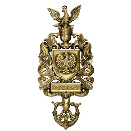 Poland Coat Of Arms Brass Doorknocker With Witamy / Welcome Plaque