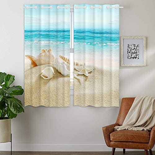 HommomH 28 x 48 inch Curtains 2 Panel Grommet Top Darkening Blackout Room Ocean Beach Picture