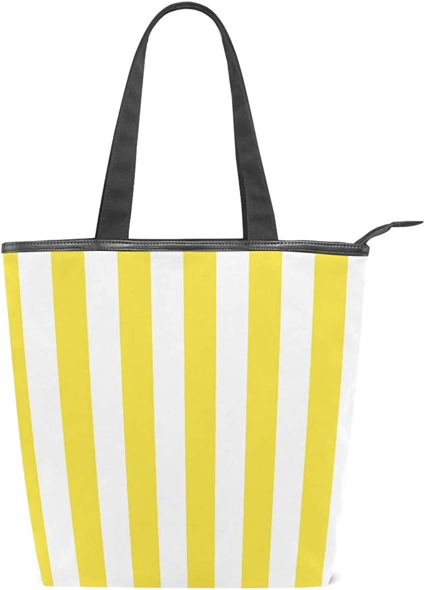 Mnsruu Bolso de playa de lona grande, bolsa de compras de viaje, rayas amarillas y blancas, bolso de mano de vacaciones de verano para mujer: Amazon.es: Zapatos y complementos