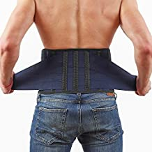 Lower Back Brace by AveSton with 6 Plastic Lumbar Support and 3 Level Adjustable Belt for Perfect Fit - Keep Your Spine Safe and Straight - Relieve Pains and Aches - X-Large Size