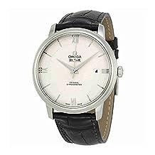 Omega De Ville Prestige Silver Dial Black Leather Mens Watch 424.13.40.20.02.001
