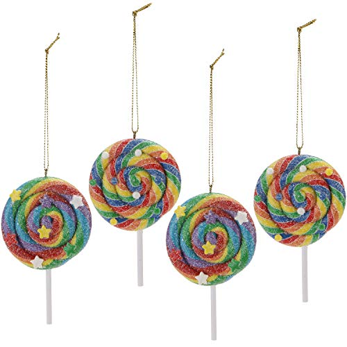 Sea Team Assorted Clay Figurine Ornaments Lolipop Hanging Charms Christmas Tree Ornament Holiday Decorations, 4.13 inches, Set of 4 (Christmas Tree Food Decorations)