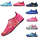 FASHOE Kids Swim Shoes Quick Dry Barefoot Socks Toddler Water Shoes for Baby's Boy's Girl's -12Red-24