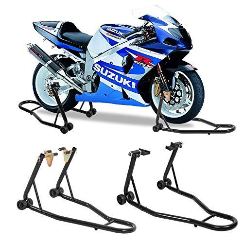 (SUNCOO Pair Motorcycle Kickstand Front and Rear Wheel Paddock Stand Sport Bike Swingarm Fork Spool Lift Support Fits Honda Yamaha BMW Maintenance, Black)