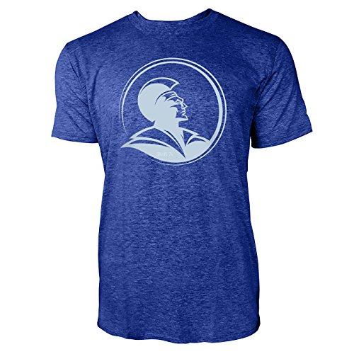 SINUS ART ® Römischer Legionär mit Helm Herren T-Shirts in Vintage Blau Cooles Fun Shirt mit tollen Aufdruck