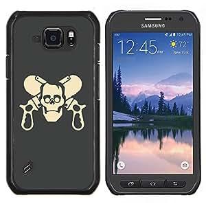 Caucho caso de Shell duro de la cubierta de accesorios de protección BY RAYDREAMMM - Samsung Galaxy S6Active Active G890A - Cráneo divertido Armas