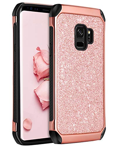 (BENTOBEN Galaxy S9 Case, Samsung S9 Case 2 in 1 Glitter Bling Hard PC Cover Coat Sparkly Shiny Leather Hybrid Soft Bumper Shockproof Protective Phone Cases for Samsung Galaxy S9 (SM-G960U), Rose Gold)