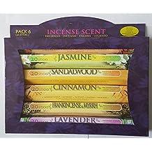 BestDeal 6 Pack Assorted Incense Stick Set - 120 Sticks -Red Rose, Jasmine, Sandalwood, Cinnamon, Frankincense & Myrrh and Lavender