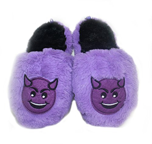 Naughty Devil Emoji Girls' Scuff Slipper (11-12)