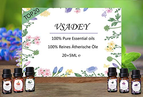 VSADEY Essential Oils Set 100% Pure Aromatherapy Essential Oil Kit for Diffuser, Humidifier, Massage, Skin Care - Lavender, Eucalyptus, Peppermint, Tea Tree, Sweet Orange, Lemongrass (20 x 5ml)