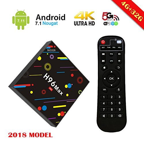 [2018 Upgrated 4G 32G TV Box] EstgoSZ H96 Max TV Box Android 7.1 RK3328 4K Smart TV Box Support 2.4G/5G Dual Wifi/100M LAN/BT 4.0/3D/H265 Gift Box