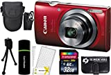 Canon PowerShot ELPH 160 20.0MP Digital Camera (Red) + 32GB Card + Reader + Case + Accessory Bundle
