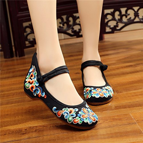 Women Canvas Embroidered bottom Shoes Black Thickened rxqrTwRv