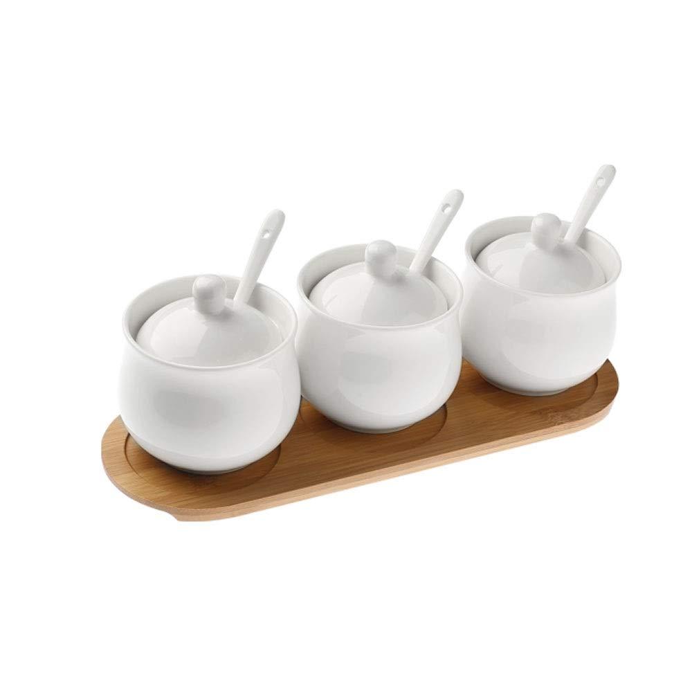MINGRUIGONGMAO Ceramic Seasoning Jar, Creative Korean Bamboo And Wood Seasoning Box Set, Seasoning Bottle, Seasoning Jar, Kitchen Salt Shaker, Drum-shaped Bamboo Seasoning Jar, Plush toys by MINGRUIGONGMAO