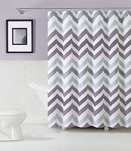 Purple Chevron Fabric Shower Curtain