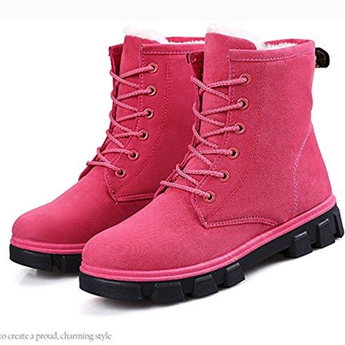HSXZ Zapatos de Mujer Otoño Invierno pelusas forro de tela botas botas de nieve plana/tobillo botines botas para Casual de color rojo marrón gris negro Red