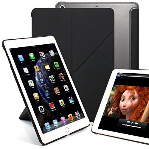 1550 Hard Case - KHOMO iPad 9.7 Inch (2017 & 2018) Transparent Back Case - DUAL ORIGAMI Hybrid Series - Horizontal and Vertical Display - Black