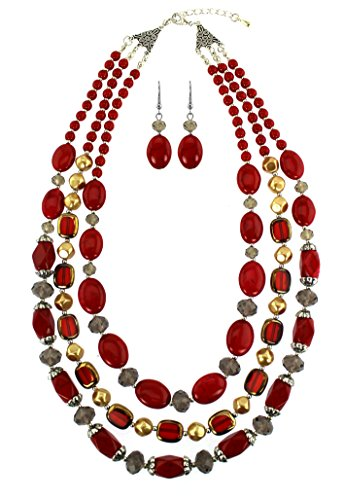 Red Semi Precious Reconstituted Stone Three Line Layering Necklace Set with Earrings