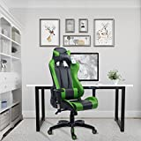 Acepro Gaming Chair Swivel Chair Computer Chair Ergonomic High Back Chair Executive Racing Style Task Desk Chair with Headrest and Lumbar Support Pillow (Black/Green)