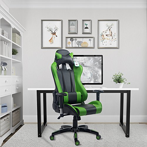 Acepro Gaming Chair Swivel Chair Computer Chair Ergonomic High Back Chair Executive Racing Style Task Desk Chair with Headrest and Lumbar Support Pillow (Black/Green) by Cloud Mountain