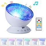 ieGeek 2nd-Gen Ocean Wave Projector Atmosphere Night Light with Built-in Music Player, 7 Color Changing Modes, Remote Control, 12 Bright LED, for Living Room Bedroom Baby Couples (White)