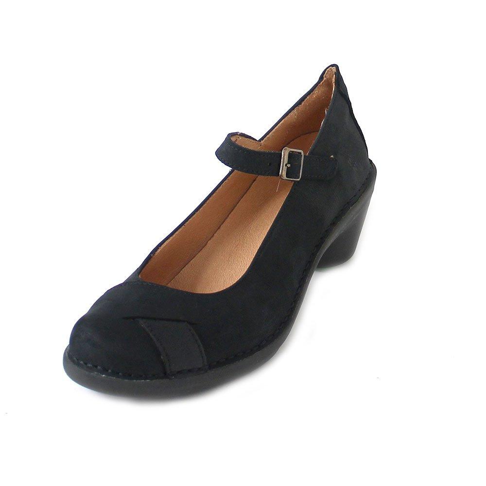 N5322 Pleasant Black-Black/Aqua Nero Donna Mary Jane Fibbia  -