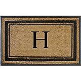 First Impressions Markham Border Double Door, Doormat, Monogrammed H, X-Large