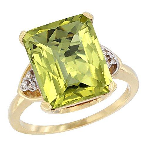 Gold Vibrant Octagon Gemstone - 14K Yellow Gold Natural Lemon Quartz Ring Octagon 12x10mm Diamond Accent, size 10