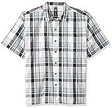 Dickies Men's Yarn Dyed Short Sleeve Camp Shirt, Silver/Blue/White Plaid, M