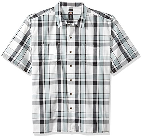 Shirt Resistant Camp Stain - Dickies Men's Yarn Dyed Short Sleeve Camp Shirt, Silver/Blue/White Plaid, 2X