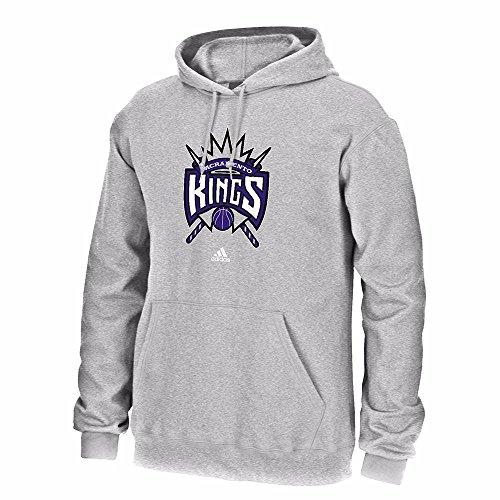 NBA Sacramento Kings Men's Full Primary Logo Fleece Hoodie, Small, Grey Sacramento Kings Adidas Pullover