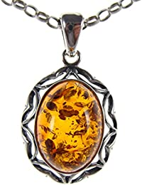 Baltic amber and sterling silver 925 cognac camel pendant jewellery jewelry (no chain)