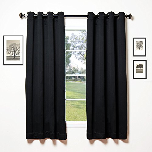 Onlycurtain 2 Panels Thermal Insulated Blackout Curtains for bedroom Antique Bronze Grommet Top 52″W x 63″L Black