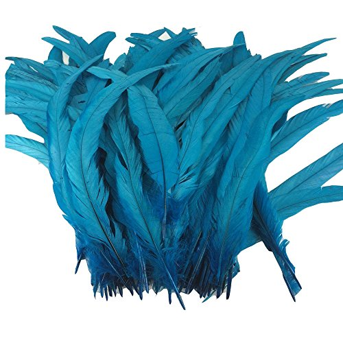 ADAMAI Natural Bleached Dyed 30-35cm Rooster Tail Feather Hats Clothes Costume Decoration Pack of 20 (Turquoise)
