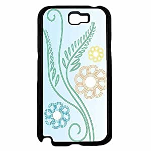 Blue Orange Green Flowers on Blue Background TPU RUBBER SILICONE Phone knowledge Case nursing Back country Cover Samsung Galaxy Note II 2 N7100 to