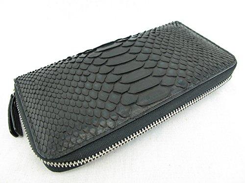 PELGIO Genuine Python Snake Skin Zip Around Checkbook Wallet Black (Black) -