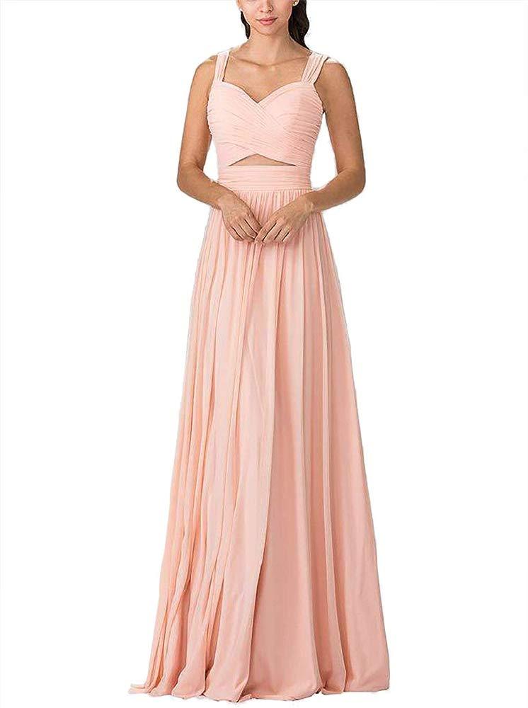 Vestido De Baile baile de graduación Dama de honor de chifón para mujer Rosa Crucero Fiesta Noche Vestido para té