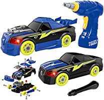 GILOBABY Take Apart Toy Racing Car, 2 IN 1 Construction Build Your Own Car Toy, Light & Sound, 26 Pcs Preschool Toy with...