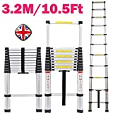 Bowose 3.2M Telescopic Multi Purpose Ladder Portable Aluminium 10.5 Ft Light Weight Extendable Attic Ladder Max 150KG Load for Outdoor Indoor Home Loft Office, UK Stock