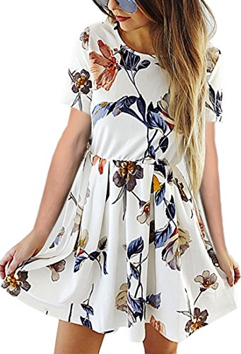 sses Casual Floral Print Long Sleeve Swing Pleated Skater A Line Mini Dress White 1 S ()