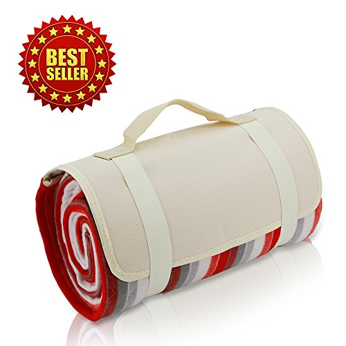 Extra Large Picnic & Outdoor Blanket Dual Layers for Outdoor Water-Resistant Handy Mat Tote Spring Summer by Scuddles
