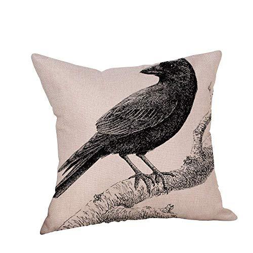(FaceBB Halloween Kinds of Crows Printed Pillow Case Linen Sofa Cushion Decor Pillowcase Home Cover Square)