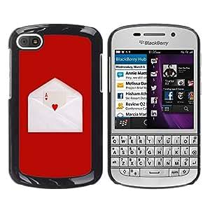 LECELL -- Funda protectora / Cubierta / Piel For BlackBerry Q10 -- Minimalist Ace Of Hearts --