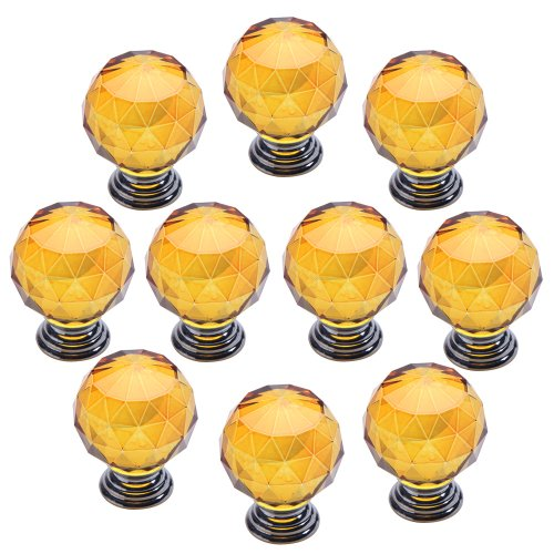 WinnerEco 10x Modern Furniture Handles Crystal Sphere Ball Cabinet Drawer Knob,Yellow