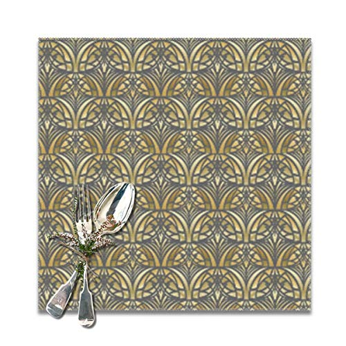 TNIJWMG Yellow Art Deco Small Placemats for Dining Table Set of 6 Heat Insulation Kitchen Non Slip Table Mats ()